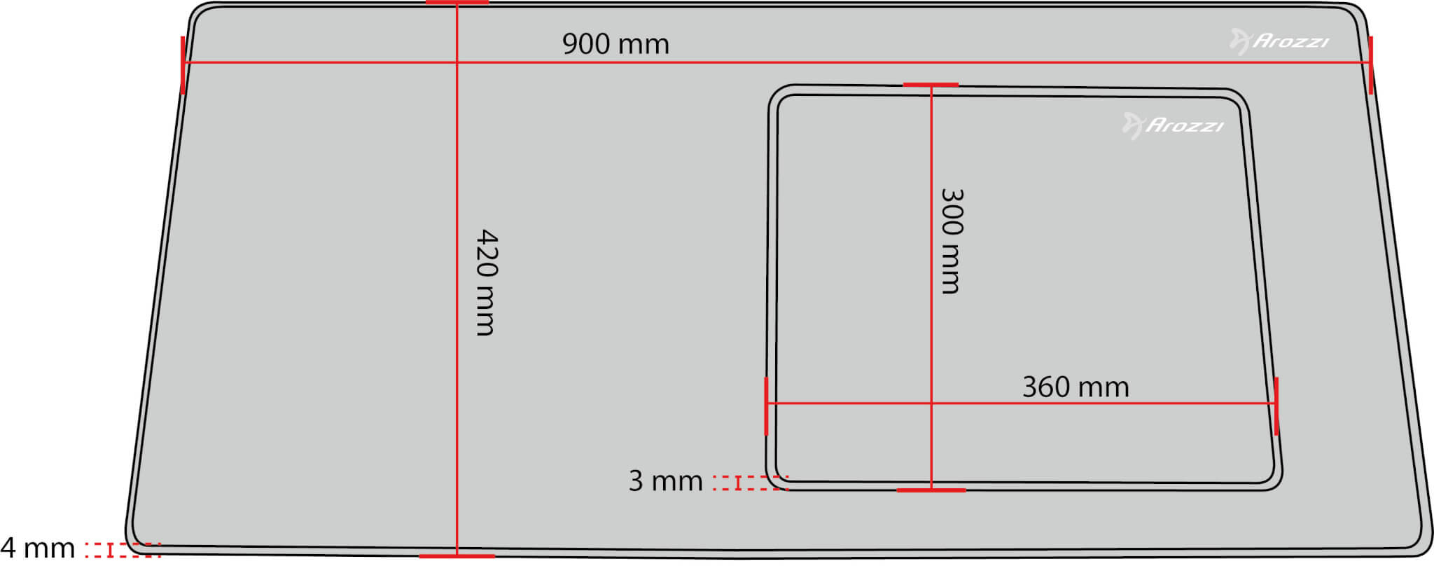 Zona Mouse Pad Measurement Sketch